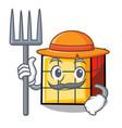 farmer rubik cube character cartoon vector image