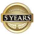 Five Years Experience Gold vector image vector image