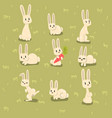 flat set small bunny in different poses vector image vector image