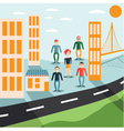 four guys and girl in city flat design vector image