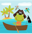 frog pirate in boat vector image vector image