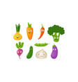 funny vegetable cartoon characters cute vector image vector image