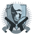 gangster emblem with pistols vector image vector image