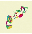 gramophone with music vector image vector image