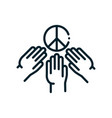hands community peace and human rights line vector image vector image