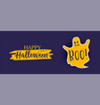 happy halloween banner with cute ghost vector image vector image