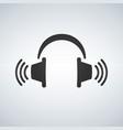 headphones icon with waves black symbol vector image vector image