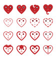 heart emoticon face icons set vector image vector image