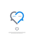 heart logo that is combined with chat symbol vector image vector image