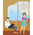 housewife cleans the room vector image vector image