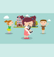 kids find a dog in city with buildings background vector image vector image