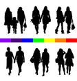 lesbian couple silhouette set in black vector image vector image