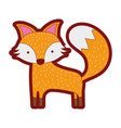 line color cute fox wild animal of the forest vector image vector image