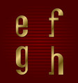 lowercase gold font isolated e f g h letters vector image