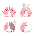 lungs healthy and sickness set cartoon character vector image vector image