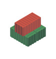 marine freight containers isometric 3d element vector image