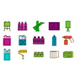 painting icon set color outline style vector image
