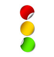 paper traffic lights red yellow and green vector image