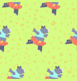 pattern with cute rhino vector image vector image