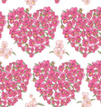 Pink heart of pansies on a white background vector image vector image