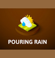 pouring rain isometric icon isolated on color vector image