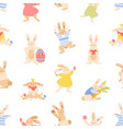 seamless paschal pattern with cute bunnies vector image