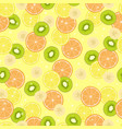 Seamless pattern with citrus fruits banana pieces