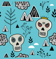 seamless pattern with skulls and nature elements vector image