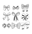 set of black and white decorative bows ribbons vector image