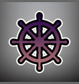 ship wheel sign violet gradient icon with vector image