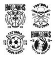 soccer hooligans set four emblems vector image vector image