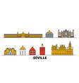 spain seville flat landmarks vector image vector image
