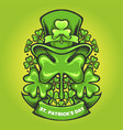 st patricks hat ornaments clover with banner vector image