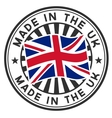 Stamp with flag of the UK Made in the UK vector image