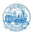 Steam train logo design template Shabby vector image vector image