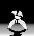 The the man is engaged in karate on a black white vector image vector image