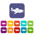 toy plane icons set flat vector image vector image