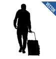 traveler silhouette with trolley vector image