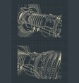 turbofan jet engine vector image vector image