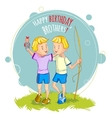 Two little boys twins are returning from fishing vector image