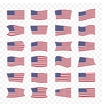 USA flags set with different bending effects vector image vector image