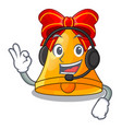 with headphone golden christmas bell isolated on vector image