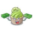 with money bag lemon cupcake mascot cartoon vector image vector image