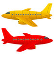 yellow and red aircraft on a white background vector image vector image