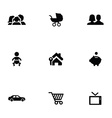 family 9 icons set vector image