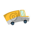 food delivery yellow truck icon vector image
