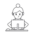 pictogram girl using computer working vector image