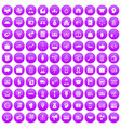 100 business group icons set purple vector image vector image