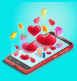 abstraction mobile phone with hearts online vector image vector image