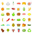 agriculture icons set cartoon style vector image vector image
